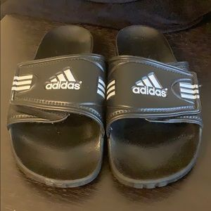 Men's Adidas Black and White Slides Sz 8